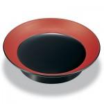 椿皿 黒(縁:朱とぎかすり)