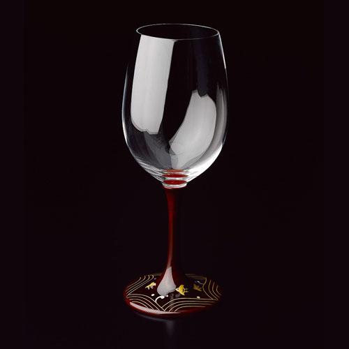 JAPAN Glass 溜漆 波千鳥蒔絵