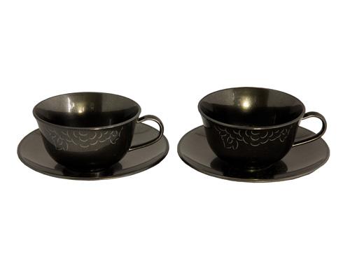 ティーカップ&ソーサー ペア ブラックシルバー SHAKU-YAKU