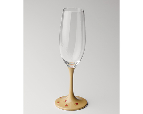 JAPAN Glass 白漆 桜蒔絵